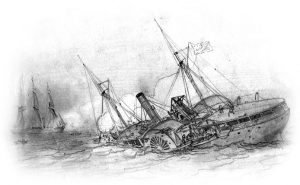 Drawing by Francis H. Schell entitled 'The Destruction of the USA gunboat Hatteras'