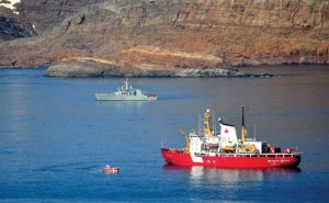 Canadian Coast Guard Ship (CCGS) Pierre Radisson and HMCS Shawinigan in waters around Resolution Island Photos: © 2014 DND-MDN Canada