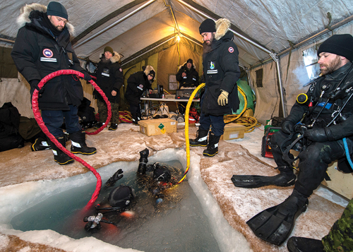 Ice diving operations at the DRDC Gascoyne Inlet Camp, Nunavut Photos: © 2014 DND-MDN Canada