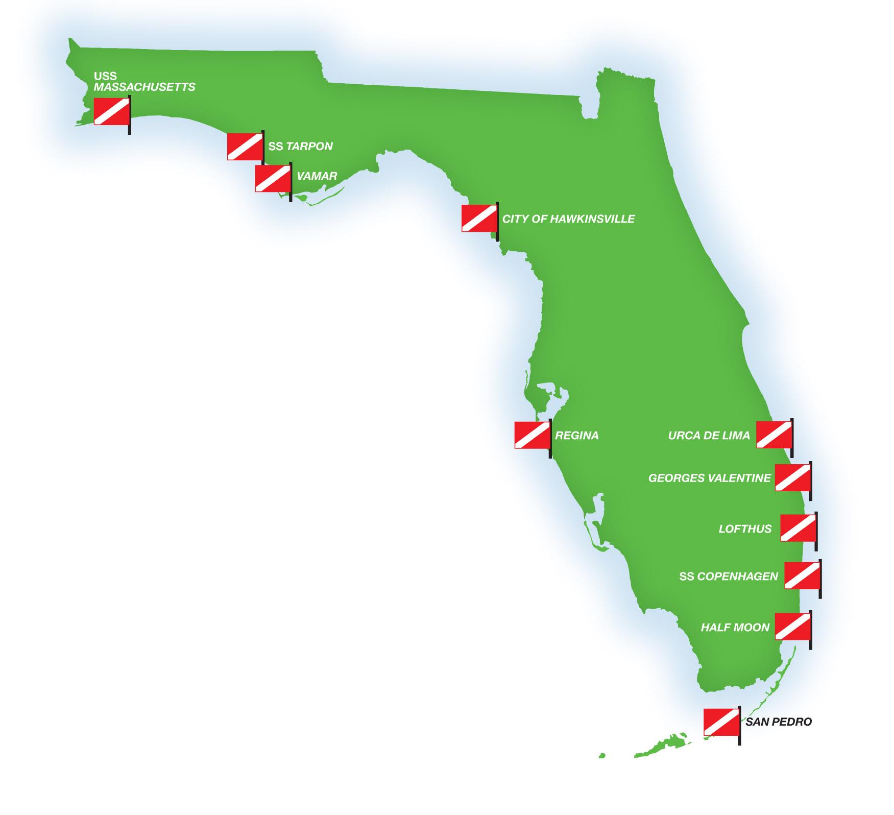 Florida Shipwrecks Map.Florida S Shipwrecks Museums In The Sea Diver Magazine
