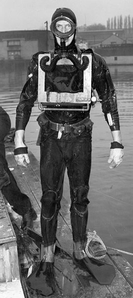 Pat Molony, B.C.'s first diving instructor in 1952, wears a homemade rebreather, his fourth. Photo: Jim Willis