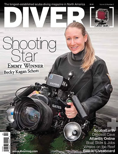Multi Emmy award winning videographer Becky Kagan Schott on the cover of DIVER