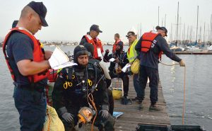 Dive team prepares to search Alameda Estuary for bullet casings. Photos: Gregory Thomas
